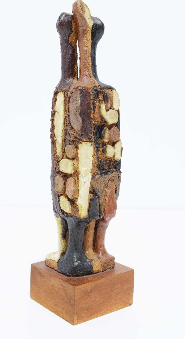 Mid-Century Modern 20th Century Signed Ceramic Figure Sculpture For Sale
