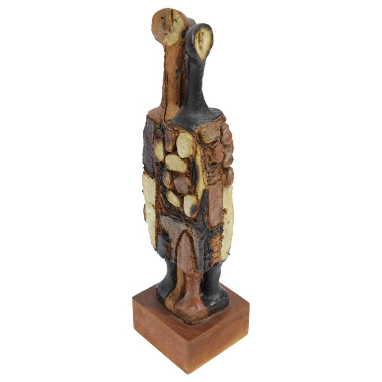 20th Century Signed Ceramic Figure Sculpture For Sale