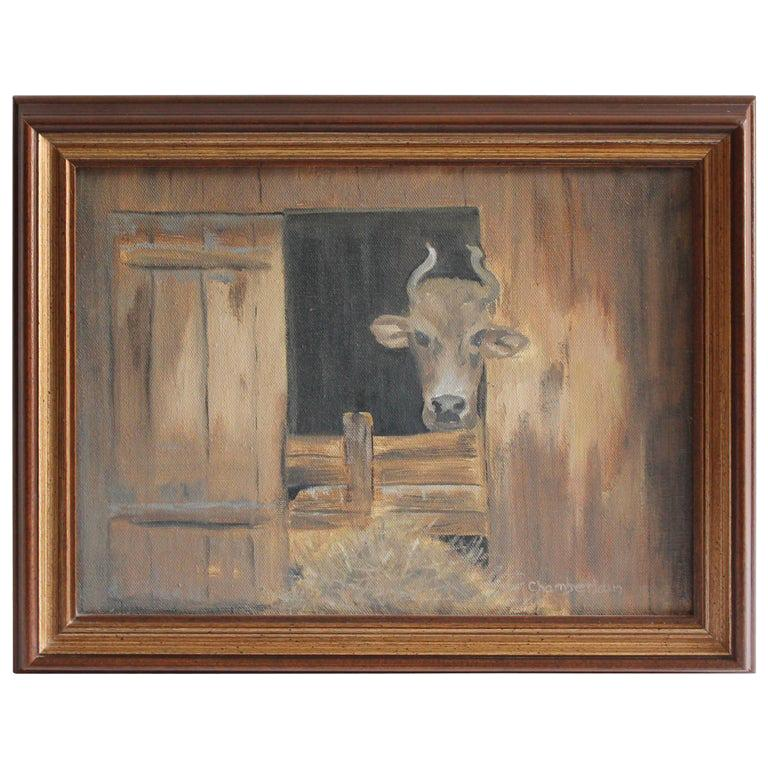 20th Century Signed Chamberlain Oil Painting of a Cow For Sale