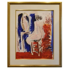 20th Century Signed JC Salomoy Expressionist Figure at Dressing Table Painting