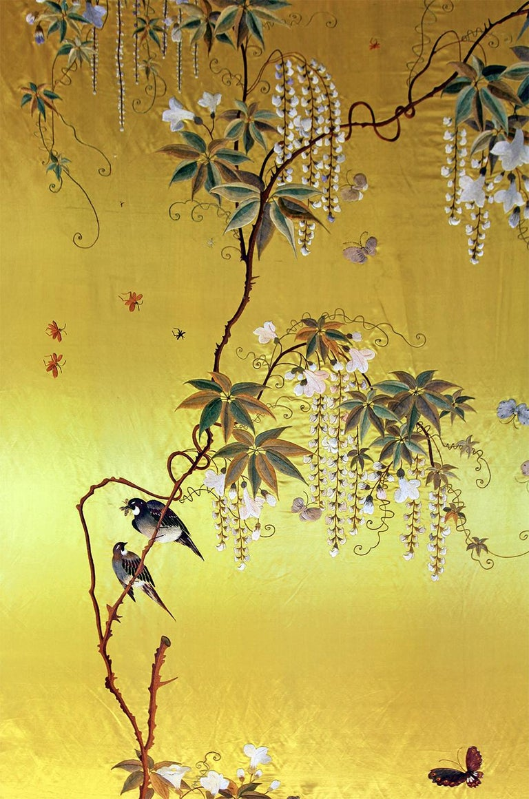 Showa 20th Century Silk Embroidered Herons under a Blooming Wisteria of Butterflies For Sale