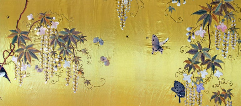 Japanese 20th Century Silk Embroidered Herons under a Blooming Wisteria of Butterflies For Sale