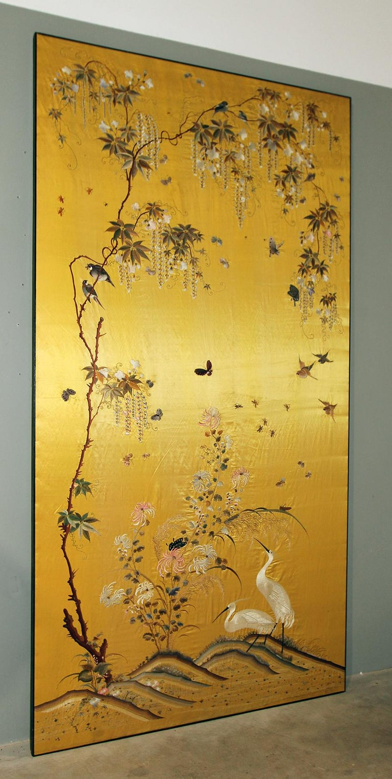 20th Century Silk Embroidered Herons under a Blooming Wisteria of Butterflies For Sale 1