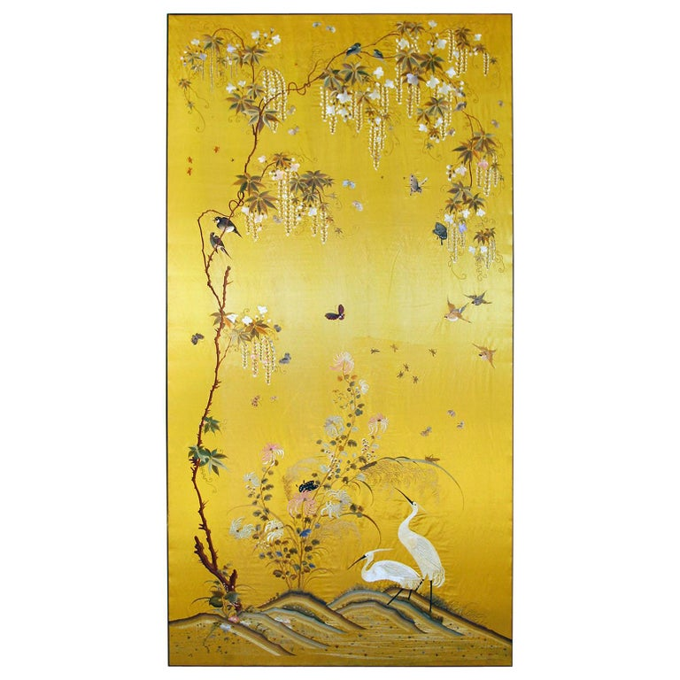 20th Century Silk Embroidered Herons under a Blooming Wisteria of Butterflies For Sale