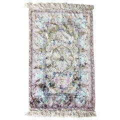 20th Century Silk Handmade Carpet in Light Colors
