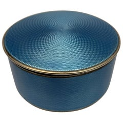 20th century Silver and blue enamel Oval Box