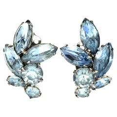 20th Century Silver & Austrian Crystal Abstract Floral Earrings