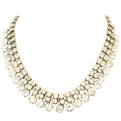 20th Century Silver & Austrian Crystal Choker Style Necklace