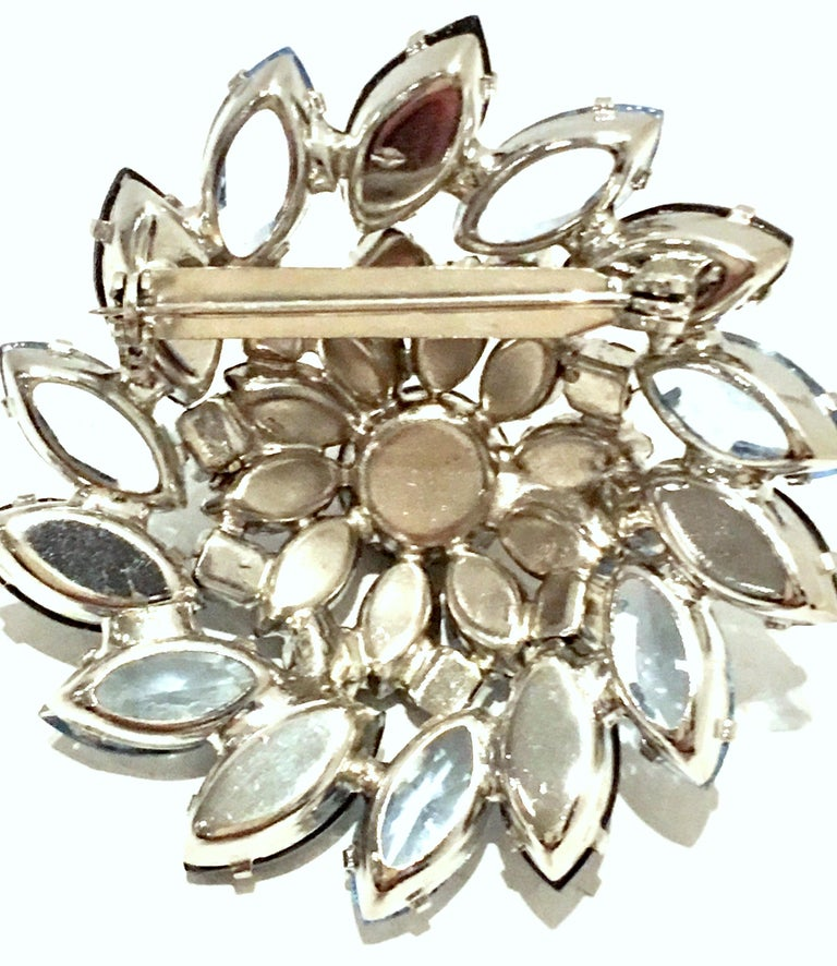 20th Century Silver & Austrian Crystal Dimensional Abstract Floral Brooch For Sale 4