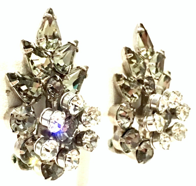 20th Century Silver & Austrian Crystal Dimensional Abstract Floral Earrings In Good Condition For Sale In West Palm Beach, FL