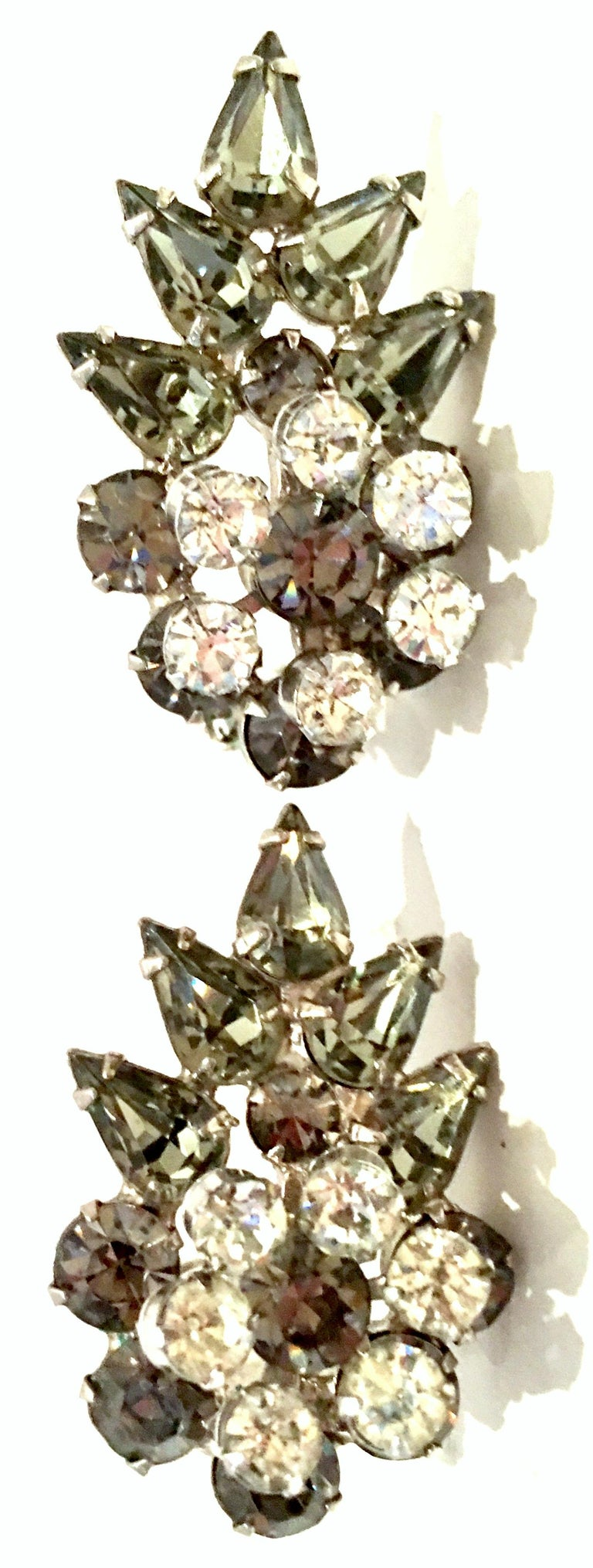 Women's or Men's 20th Century Silver & Austrian Crystal Dimensional Abstract Floral Earrings For Sale