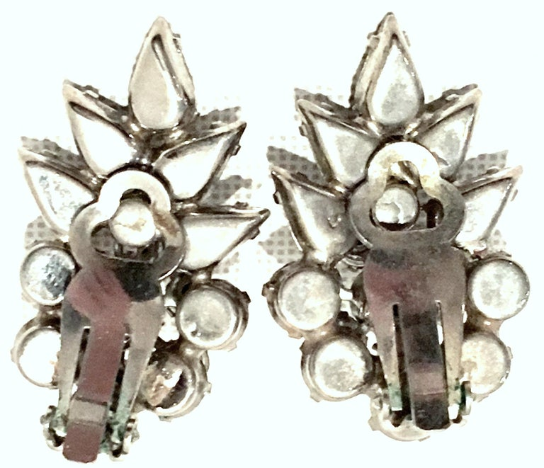 20th Century Silver & Austrian Crystal Dimensional Abstract Floral Earrings For Sale 3