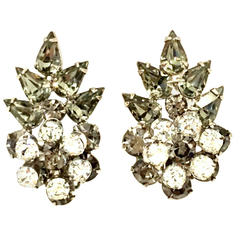 20th Century Silver & Austrian Crystal Dimensional Abstract Floral Earrings For Sale