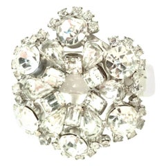 20th Century Silver & Austrian Crystal Dimensional Brooch