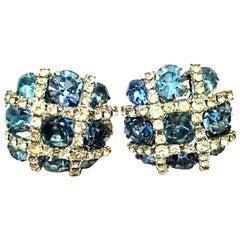 20th Century Silver & Austrian Crystal Dimensional Earrings By, Kramer