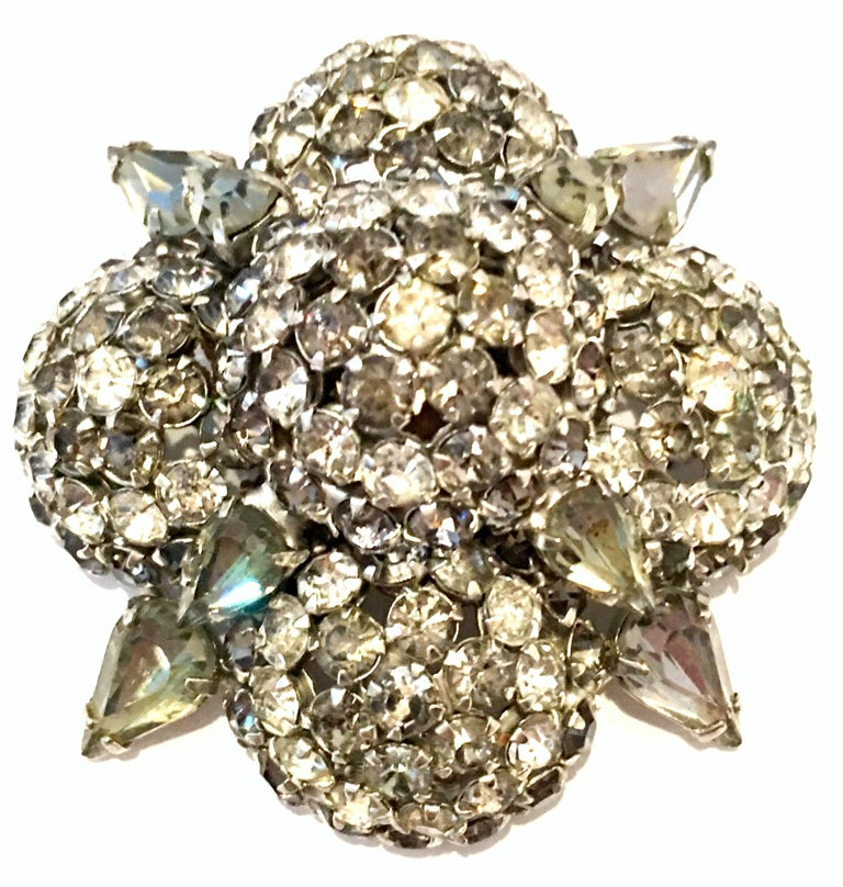 Art Deco 20th Century Silver & Austrian Crystal Dimensional Starburst Brooch By, Warner For Sale