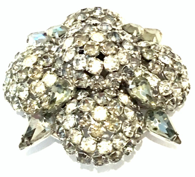 20th Century Silver & Austrian Crystal Dimensional Starburst Brooch By, Warner In Good Condition For Sale In West Palm Beach, FL