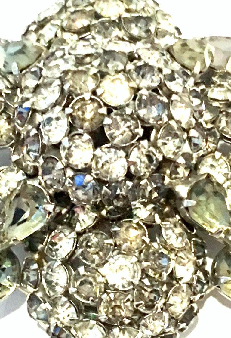 Women's or Men's 20th Century Silver & Austrian Crystal Dimensional Starburst Brooch By, Warner For Sale
