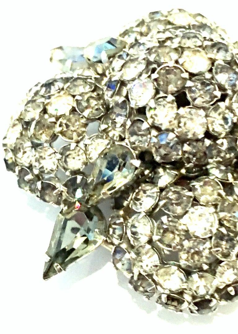 20th Century Silver & Austrian Crystal Dimensional Starburst Brooch By, Warner For Sale 1