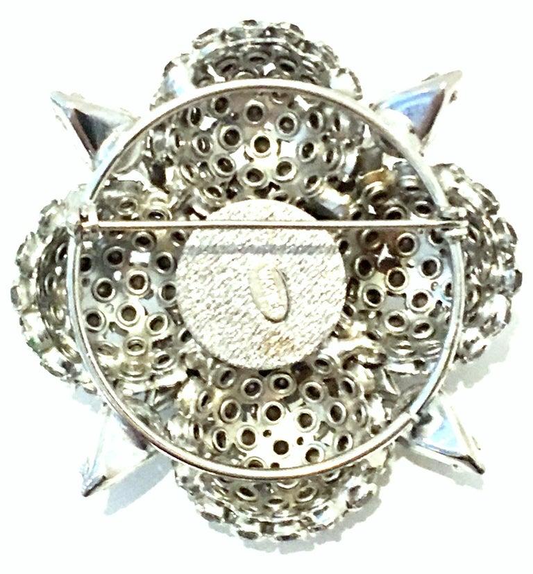 20th Century Silver & Austrian Crystal Dimensional Starburst Brooch By, Warner For Sale 4