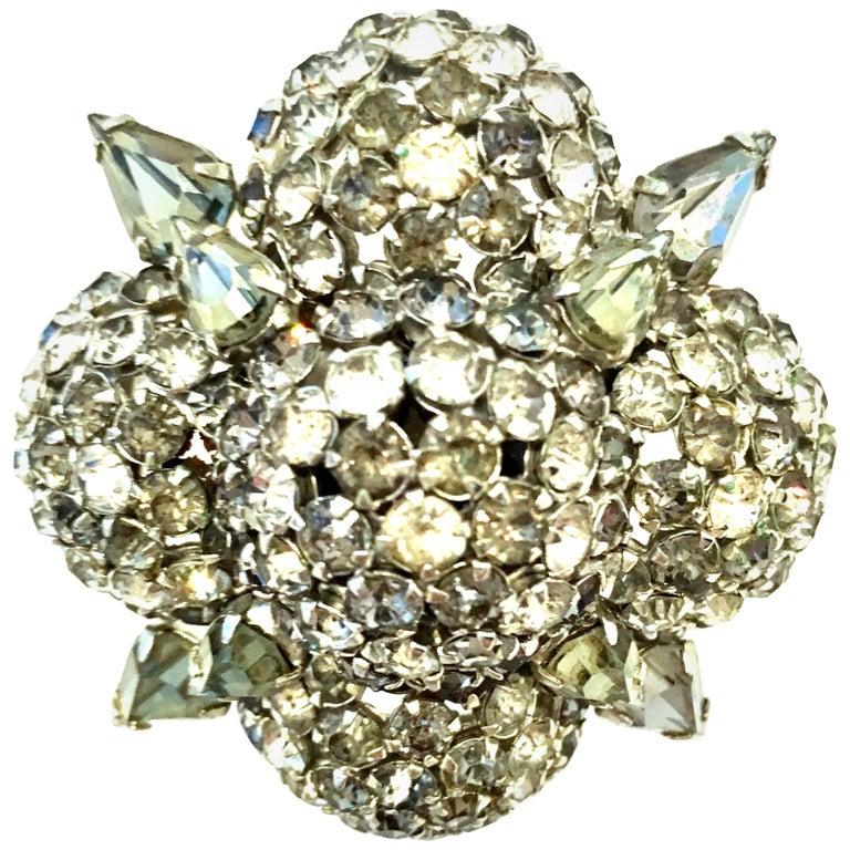 20th Century Silver & Austrian Crystal Dimensional Starburst Brooch By, Warner For Sale