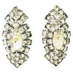 20th Century Silver & Austrian Crystal Earrings