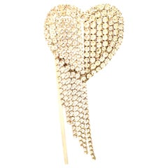 20th Century Silver & Austrian Crystal Heart Brooch