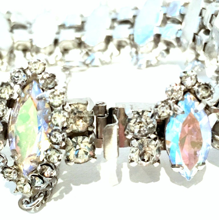 20th Century Silver & Austrian Crystal Link Bracelet By, Weiss For Sale 9
