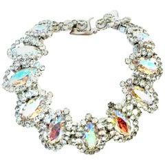 20th Century Silver & Austrian Crystal Link Bracelet By, Weiss