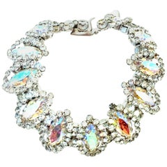 20th Century Silver & Austrian Crystal Link Bracelet By, Weiss