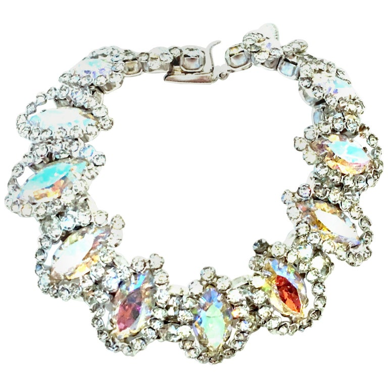 20th Century Silver & Austrian Crystal Link Bracelet By, Weiss For Sale