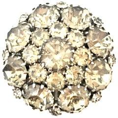 20th Century Silver & Austrian Crystal Schreiner Style Dimensional Dome Brooch