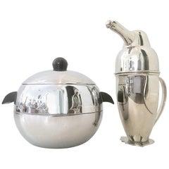 "20th Century Silver & Bakelite ""Penguin"" Cocktail Shaker & Lidded Ice Bucket S/2"