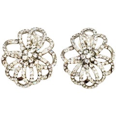 20th Century Silver & Crystal Dimensional Floral Earrings By, Swarovski