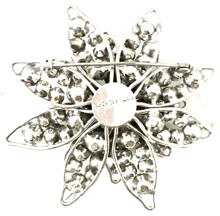 20th Century Silver & Crystal Dimensional Necklace Pendant & Brooch By, Halpern For Sale 6