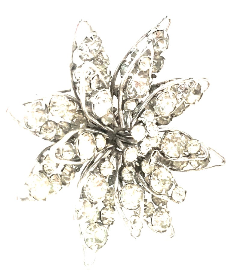 20th Century Silver & Crystal Dimensional Necklace Pendant & Brooch By, Halpern In Good Condition For Sale In West Palm Beach, FL