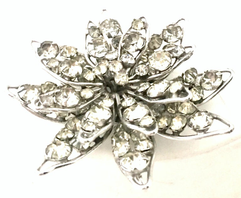 Women's or Men's 20th Century Silver & Crystal Dimensional Necklace Pendant & Brooch By, Halpern For Sale