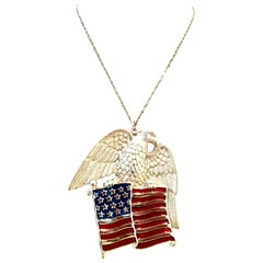 20th Century Silver Enamel Patriotic Flag & Eagle Pendant Necklace By, Gorham