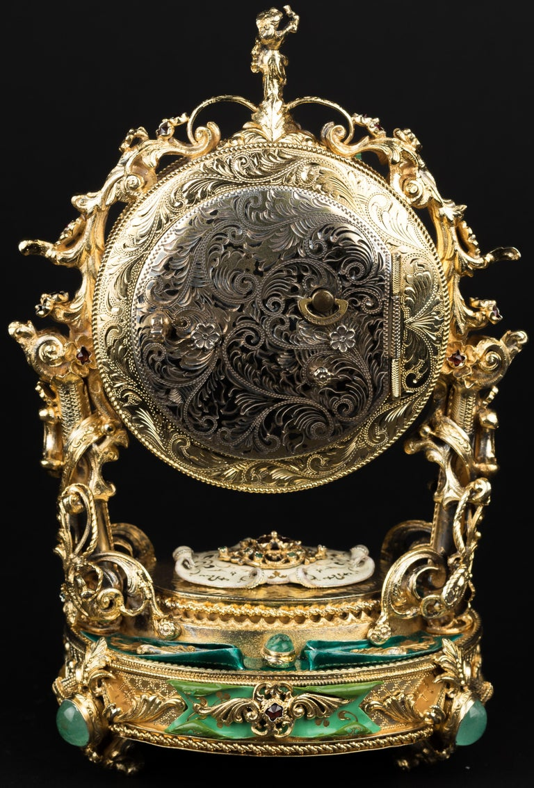 Louis XV 20th Century Silver-Gilt Enamel Clock For Sale
