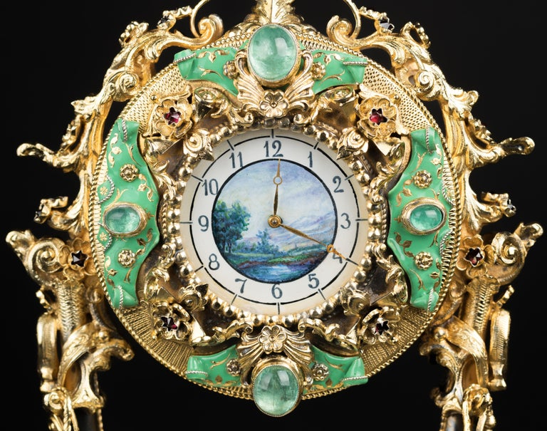 20th Century Silver-Gilt Enamel Clock In Good Condition For Sale In Tongeren, Limburg
