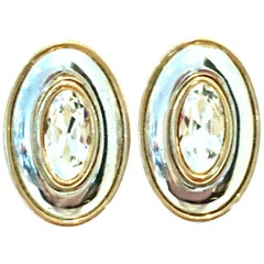 20th Century Silver & Gold Swarovski Crystal Earrings By, Givenchy