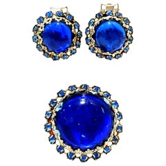 20th Century Silver, Molded Glass & Austrian Crystal Brooch & Earrings S/3