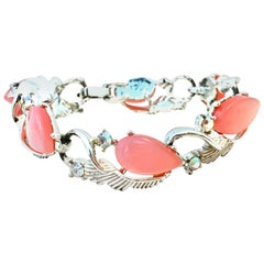 20th Century Silver, Pink Lucite & Austrian Crystal Link Bracelet By, Coro