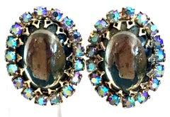 20th Century Silver Plate & Art Glass Crystal Earrings
