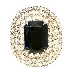 20th Century Silver Plate & Austrian Crystal Dimensional Brooch