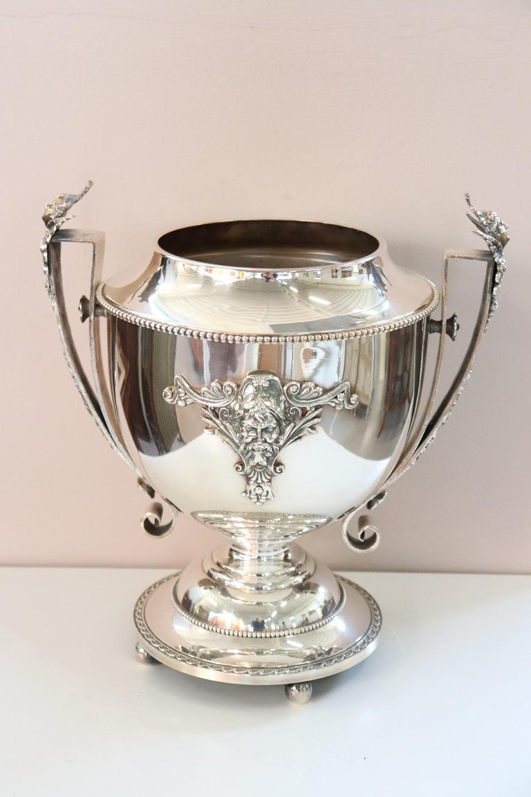 Italian 20th Century Silver Plate Champagne Bucket or Wine Cooler For Sale