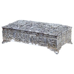 20th Century Silver Plate Chinese Bamboo Decorated Tobacco Box