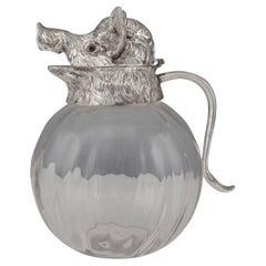 20th Century Silver Plated & Glass Boars Head Shaped Jug, c.1960