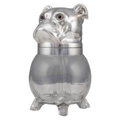 20th Century Silver Plated & Glass Bulldogs Head Shaped Jar, c.1960