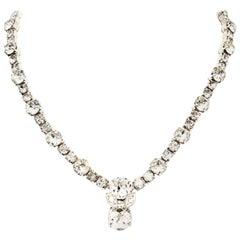 20th Century Silver & Swarovski Crystal Choker Style Necklace By, Eisenberg